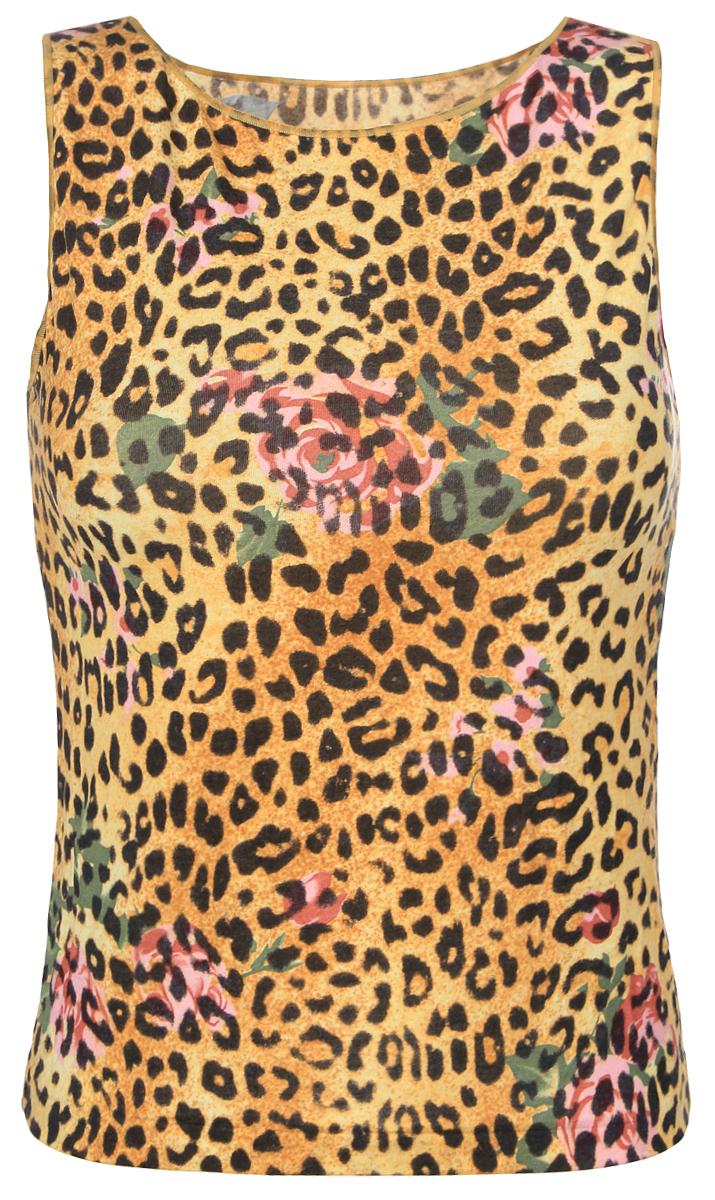 Майка женская Золотая Грация Бриджит, цвет: желтый, коричневый. Размер XS (44)БриджитЖенская майка Золотая Грация Бриджит идеально подойдет для повседневной носки. Изделие выполнено из нежного шелковистого полотна нового поколения с эффектом персиковой кожи. Материал тактильно приятный, не сковывает движения и хорошо пропускает воздух. Майка на широких бретелях с круглым вырезом горловины имеет слегка приталенный силуэт. Модель оформлена леопардовым и цветочным принтами. Майка будет дарить вам комфорт в течение всего дня и станет отличным дополнением к вашему гардеробу.