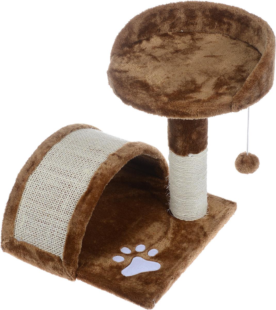 Когтеточка Aimigou, с полкой и игрушками, цвет: коричневый, белый, 43 х 42 х 42 смQQ80324-8Когтеточка Aimigou поможет сохранить мебель и ковры в доме от когтей вашего любимца, стремящегося удовлетворить свою естественную потребность точить когти. Когтеточка изготовлена из ДСП, искусственного меха и сизаля. Товар продуман в мельчайших деталях и, несомненно, понравится вашей кошке. Сверху имеется полка. Точить когти ваш питомец будет о полукруглую горку или столбик с покрытием из сизаля. Под горкой расположена мягкая игрушка в виде рыбки.Всем кошкам необходимо стачивать когти. Когтеточка - один из самых необходимых аксессуаров для кошки. Для приучения к когтеточке можно натереть ее сухой валерьянкой или кошачьей мятой. Когтеточка поможет вашему любимцу стачивать когти и при этом не портить вашу мебель.Размер основания: 34 х 34 см.Высота когтеточки (с учетом полки): 42 см.Размер полки: 30,5 х 30 см.