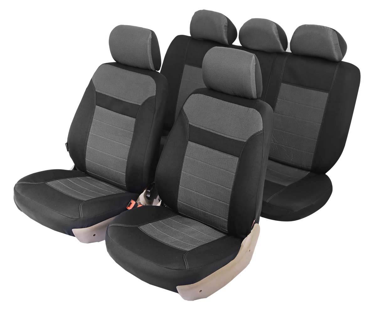Чехол на автомобильное кресло универсальный Senator New York, размер M, армированный жаккард, 11 предметов, карман, 6 молний, цвет: серыйSJ081162Универсальные классические чехлы из сверхпрочного жаккарда. Применимы для 95% легкового автопарка РФ.Благодаря особому крою типа «В» чехлы идеально облегают сидения автомобиля. Специальный боковой шов позволяет применять авто чехлы в автомобилях с боковыми подушками безопасности (AIR BAG).Раздельная схема надевания обеспечивает легкую установку авто чехлов. Дополнительное удобство создает наличие предустановленных крючков, утягивающего шнура, фиксирующей липучки на передних спинках, а также предустановленной прорези для установки подголовника.Материал триплирован огнеупорным поролоном 5 мм, за счет чего чехол приобретает дополнительную мягкость и устойчивость к возгоранию.Авточехлы Senator Жаккард New York износоустойчивы и легко стираются в стиральной машине.