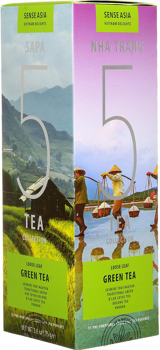 Sense Asia Vietnam Delights collection подарочный набор зеленого чая 5 Green Tea, 75 г8938506647196Подарочный набор чая Sense Asia Vietnam Delights - состоит из 5 видов зеленого листового чая, по 3 стикера на каждый вид. Это своеобразный тестовый набор зеленого вьетнамского чая для гурманов и начинающих ценителей.Каждый стикер внутри имеет уникальную наклейку о стране, ее людях и самых знаменитых местах.Способ заваривания чая для каждого вида индивидуален, для вашего удобства на стикерах размещены способы приготовления.Подарочный набор чая Vietnam Delights 5 Green Tea состоит из бестселлеров мирового рынка: 5 видов зеленого чая (Green Tea): Traditional green (Традиционный Зеленый), Jasmine (Жасминовый Чай), Blao Lotus Tea (Лотосовый Чай), Pandan (Пандан), Oolong (Вьетнамский Улун) Уникальная упаковка – это три захватывающих панорамы самых живописных уголков Вьетнама: рисовые поля Сапы (знаменитое своими видами место на севера Вьетнама), соляные поля Ня Чанга (курортного города на юге страны), острова знаменитой бухты Халонг.Коллекция Vietnam Delights - Лучший подарок для гурманов и начинающих ценителей чая!