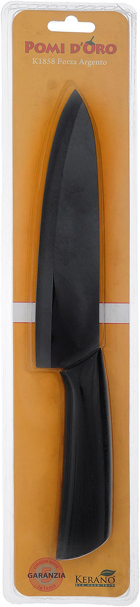 Нож поварской Pomi d'Oro Forza, керамический, цвет: графитовый, длина лезвия 18 см77.858@19750 / K1858 Forza ArgentoНож Pomi dOro Forza изготовлен из высококачественной черной керамики - гигиеничного, экологически чистого материала. Нож имеет острое лезвие, не требующее дополнительной заточки. Эргономичная рукоятка, выполненная из стали с прорезиненным покрытием, не скользит в руках и делает резку удобной и безопасной. Такой нож подходит для нарезки овощей, фруктов, рыбы и мяса без костей. Керамика - это отличная альтернатива металлу. В отличие от стальных ножей, керамические ножи не переносят ионы металла в пищу, не разрушаются от кислот овощей и фруктов и никогда не заржавеют. Нож Pomi dOro Forza будет служить вам многие годы при соблюдении простых правил.Можно мыть в посудомоечной машине.Общая длина ножа: 30 см.Толщина лезвия: 2 мм.