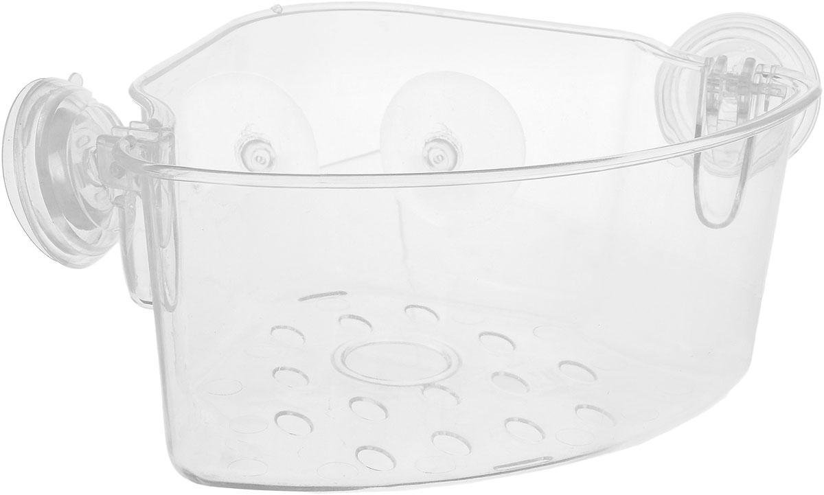 Полка для ванной комнаты House & Holder, угловая, на присосках, 23 х 18,5 х 11 смTL1903Угловая полка House & Holder для ванной комнаты выполнена из прочного пластика. Она пригодится для хранения различных принадлежностей, которые всегда будут под рукой. Изделие крепится к поверхности при помощи 4 присосок.Благодаря компактным размерам полка впишется в интерьер вашего дома и позволит удобно хранить предметы домашнего обихода.Диаметр присоски: 5,5 см.