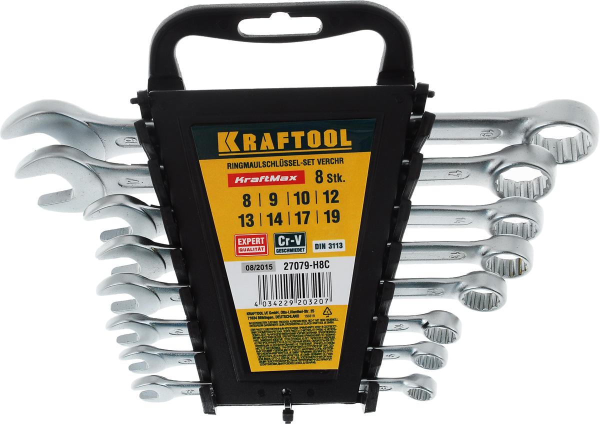 Набор комбинированных гаечных ключей Kraftool Expert, 8-19 мм, 8 шт27079-H8CНабор Kraftool Expert включает 8 комбинированных гаечных ключей, выполненных из качественной стали. Благодаря правильному подбору материала и параметров технологического процесса ключи выдерживают высокие нагрузки, устойчивы к истиранию рабочих граней. Применяются для работ с шестигранным крепежом.Комбинированный гаечный ключ - незаменимый инструмент при сборке и разборке любых металлических конструкций. Он сочетает в себе рожковый и накидной гаечные ключи. Первый нужен для работы в труднодоступных местах, второй более эффективен при отворачивании тугого крепежа.Для хранения набора предусмотрена пластиковая подставка.