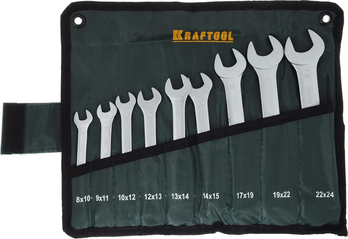 Набор рожковых гаечных ключей Kraftool Expert, 8-24 мм, 9 шт