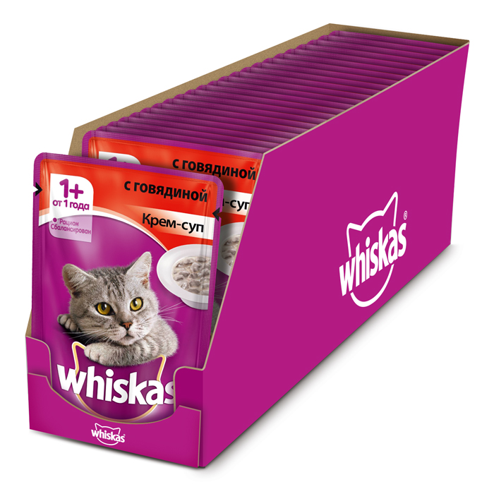 Консервы Whiskas для кошек от 1 года, крем-суп с говядиной, 85 г, 24 шт корм whiskas подушечки овощные говядина кролик 1 9kg 10150211