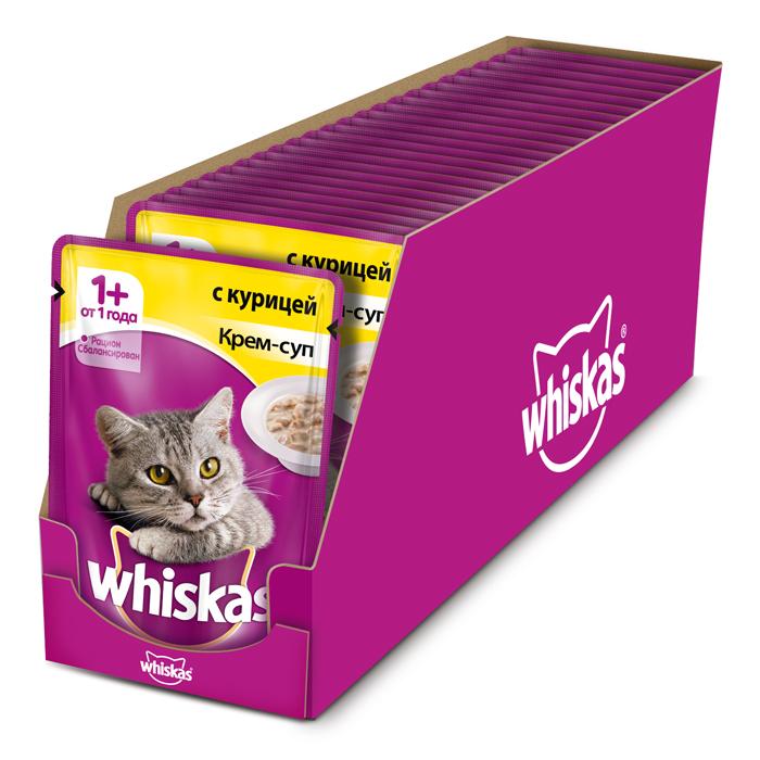 Консервы Whiskas для кошек от 1 года, крем-суп с курицей, 85 г х 24 шт41404Консервированный корм Whiskas - полнорационное питание со всеми необходимыми для здоровья питательными веществами, витаминами и минералами для взрослых кошек от 1 года. Аппетитные кусочки с нежным сливочным соусом непременно понравятся вашему любимцу.В каждой миске крем-супа Whiskas ваш питомец найдет вкусное и полезное угощение.Состав: мясо и субпродукты (в том числе курица минимум 4%), сухие сливки на растительной основе, злаки, таурин, витамины, минеральные вещества. Пищевая ценность (в 100 г продукта): белки - 7,5 г; жиры - 3,0 г; зола - 2,5 г; клетчатка - 0,2 г; витамин А - не менее 150МЕ; витамин Е - не менее 1,0 мг; влага - 83 г. Энергетическая ценность (на 100 г): 70 ккал/293 кДж.В упаковке 24 пауча по 85 г. Товар сертифицирован.