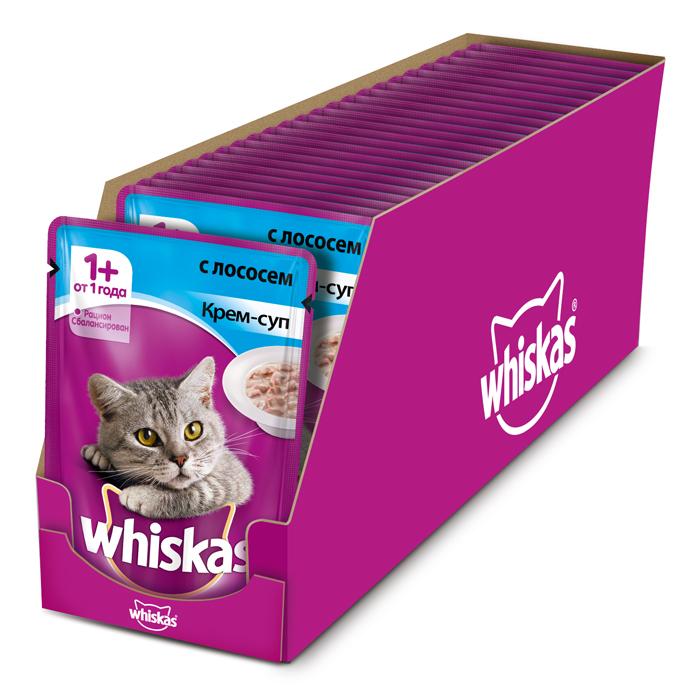 Консервы Whiskas для кошек от 1 года, крем-суп с лососем, 85 г х 24 шт41405Консервированный корм Whiskas - полнорационное питание со всеми необходимыми для здоровья питательными веществами, витаминами и минералами для взрослых кошек от 1 года. Аппетитные кусочки с нежным соусом непременно понравятся вашему любимцу.В каждой миске крем-супа Whiskas ваш питомец найдет вкусное и полезное угощение.Состав: мясо и субпродукты, рыба (в том числе лосось минимум 4%), сухие сливки на растительной основе, злаки, таурин, витамины, минеральные вещества. Пищевая ценность (в 100 г продукта): белки - 7,5 г; жиры - 3,0 г; зола - 2,5 г; клетчатка - 0,2 г; витамин А - не менее 150МЕ; витамин Е - не менее 1,0 мг; влага - 83 г. Энергетическая ценность (на 100 г): 70 ккал/293 кДж.В упаковке 24 пауча по 85 г.Товар сертифицирован.