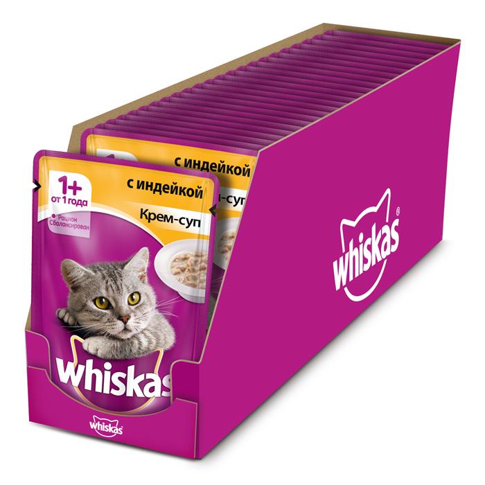 Консервы Whiskas для кошек от 1 года, крем-суп с индейкой, 85 г х 24 шт41403Консервированный корм Whiskas - полнорационное питание со всеми необходимыми для здоровья питательными веществами, витаминами и минералами для взрослых кошек от 1 года. Аппетитные кусочки с нежным сливочным соусом непременно понравятся вашему любимцу.В каждой миске крем-супа Whiskas ваш питомец найдет вкусное и полезное угощение.Состав: мясо и субпродукты (в том числе индейка минимум 4%), сухие сливки на растительной основе, злаки, таурин, витамины, минеральные вещества. Пищевая ценность (в 100 г продукта): белки - 7,5 г; жиры - 3,0 г; зола - 2,5 г; клетчатка - 0,2 г; витамин А - не менее 150МЕ; витамин Е - не менее 1,0 мг; влага - 83 г. Энергетическая ценность (на 100 г): 70 ккал/293 кДж.В упаковке 24 пауча по 85 г. Товар сертифицирован.