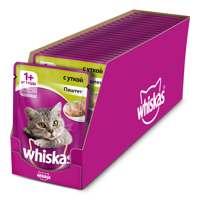 Консервы Whiskas для кошек от 1 года, паштет с уткой, 85 г х 24 шт консервы для кошек aras premium deluxe паштет с домашней птицей 100 г