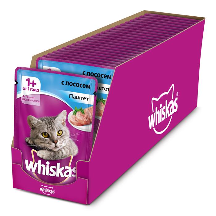 Консервы Whiskas для кошек от 1 года, паштет с лососем, 85 г х 24 шт41401Консервы для взрослых кошек Whiskas - полнорационный сбалансированный корм, который идеально подойдет вашему любимцу. Нежный паштет приготовлен с учетом потребностей кошек. Специально сбалансированный рацион содержит все необходимые питательные вещества, витамины и минералы. Консервы не содержат сои, консервантов, ароматизаторов, искусственных красителей и усилителей вкуса. В рацион домашнего любимца нужно обязательно включать консервированный корм, ведь его главные достоинства - высокая калорийность и питательная ценность. Консервы лучше усваиваются, чем сухие корма. Также важно, чтобы животные, имеющие в рационе консервированный корм, получали больше влаги.Состав: мясо и субпродукты (в том числе лосось минимум 4%), таурин, витамины, минеральные вещества.Пищевая ценность (100 г): белки - 8 г, жиры - 4 г, зола - 1,8 г, клетчатка - 0,3 г, витамин А не менее 150 МЕ, витамин Е не менее 1 мг, влага - 85 г.Энергетическая ценность (100 г): 70 ккал/293 кДж.В упаковке 24 пауча по 85 г. Товар сертифицирован.
