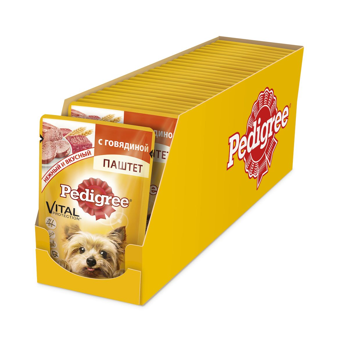 Консервы Pedigree для собак мелких пород от 1 года, паштет с говядиной, 80 г х 24 шт41398Консервы Pedigree – это не просто вкусный паштет с говядиной, но и полезный, оптимально сбалансированный рацион. Он обеспечивает организм собаки витаминами и микроэлементами, необходимыми ей для здоровья и активной жизни. Не содержитароматизаторов, усилителей вкуса, сои и консервантов, искусственных красителей. Ключевые преимущества: Поддержка иммунной системы: Витамин E и цинк поддерживают иммунную систему. Здоровье костей: Содержит кальций для поддержания здоровья костей. Здоровье кожи и шерсти: Линолевая кислота и цинк необходимы для здоровья кожи и шерсти. Отличное пищеварение: Высокоусвояемые ингредиенты и клетчатка для оптимального пищеварения.Состав: мясо и субпродукты (в том числе говядина минимум 4%), клетчатка,минеральные вещества, растительное масло, витамины. Пищевая ценность (100 г): белки – 7,0 г; жиры – 3,5 г; зола – 1,0 г; клетчатка – 0,6 г; влага – 85 г; кальций – не менее 0,1 г; цинк – не менее 1.8 мг; витамин A – не менее 120 ME; витамин E – не менее 0,9 мг.Энергетическая ценность (100 г): 65 ккал/272 кДж. В упаковке 24 пауча по 80 г.Товар сертифицирован.