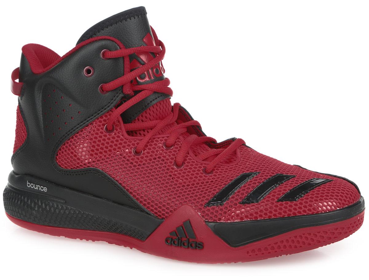 Кроссовки мужские для баскетбола adidas Performance DT BBall Mid, цвет: красный, черный. AQ7755. Размер 14 (49)AQ7755Стильные высокие кроссовки DT BBall Mid от adidas Performance идеально подойдут для занятия баскетболом. Модель выполнена из сетчатого текстиля и дополнена вставками из искусственной кожи, которые обеспечивают поддержку ноги. Мыс оформлен тремя полосками из ПВХ, боковые стороны - перфорацией, язычок - нашивкой с фирменным тиснением. Классическая шнуровка надежно зафиксирует изделие на стопе. Текстильная подкладка и мягкий манжет предотвратят натирание и гарантируют уют. Стелька из материала ЭВА с текстильной поверхностью обеспечит лучшую амортизацию. Промежуточная подошва bounce предназначена для поглощения ударных нагрузок. Уплотненный задник защитит ноги от ударов. Текстильная петля на заднике облегчает надевание модели. Рельефная поверхность подошвы обеспечивает отличное сцепление с любой поверхностью. Такие кроссовки придутся вам по душе.