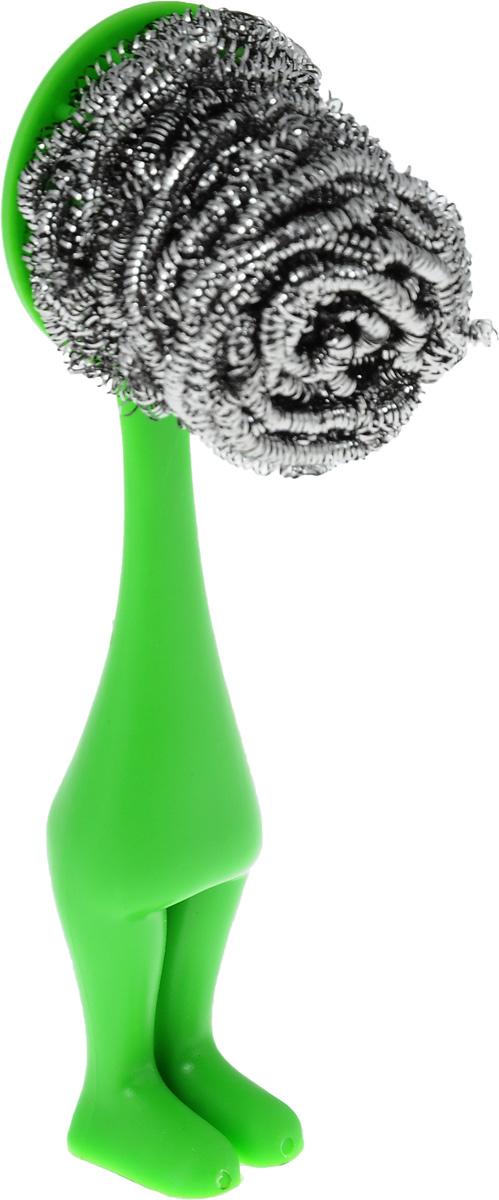 Щетка для мытья посуды Мультидом, с металлической мочалкой, цвет: зеленый, длина 15 смDH58-150_зеленыйЩетка Мультидом предназначена для мытья посуды. Металлическая мочалка быстро удаляет въевшуюся грязь и застаревшие остатки пиши. Щетка имеет ручку с зубцами, которая позволяет прочно закрепить на ней металлическую мочалку. Ручка является универсальной, благодаря чему на ней можно закреплять любые металлические мочалки. Исключается контакт рук с моющим средством, что делает щетку еще удобнее. Мочалка изготовлена из коррозионностойкой стали, ручка - из полипропилена.Оригинальный и стильный дизайн щетки украсит вашу кухню. Длина: 15 см.Ширина рабочей поверхности: 4 см.