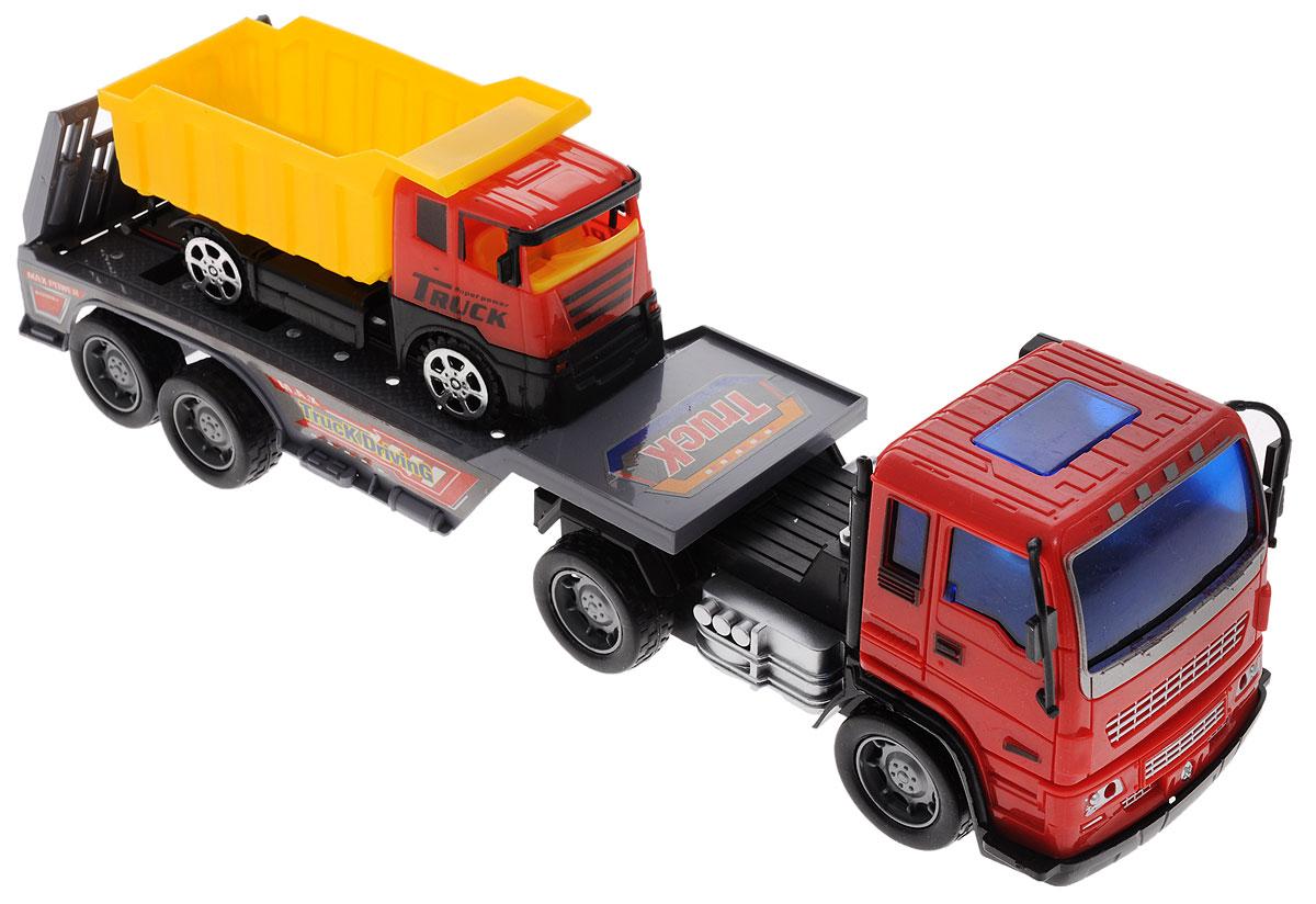 Junfa Toys Автовоз инерционный с самосвалом junfa toys трактор инерционный ranch world цвет красный