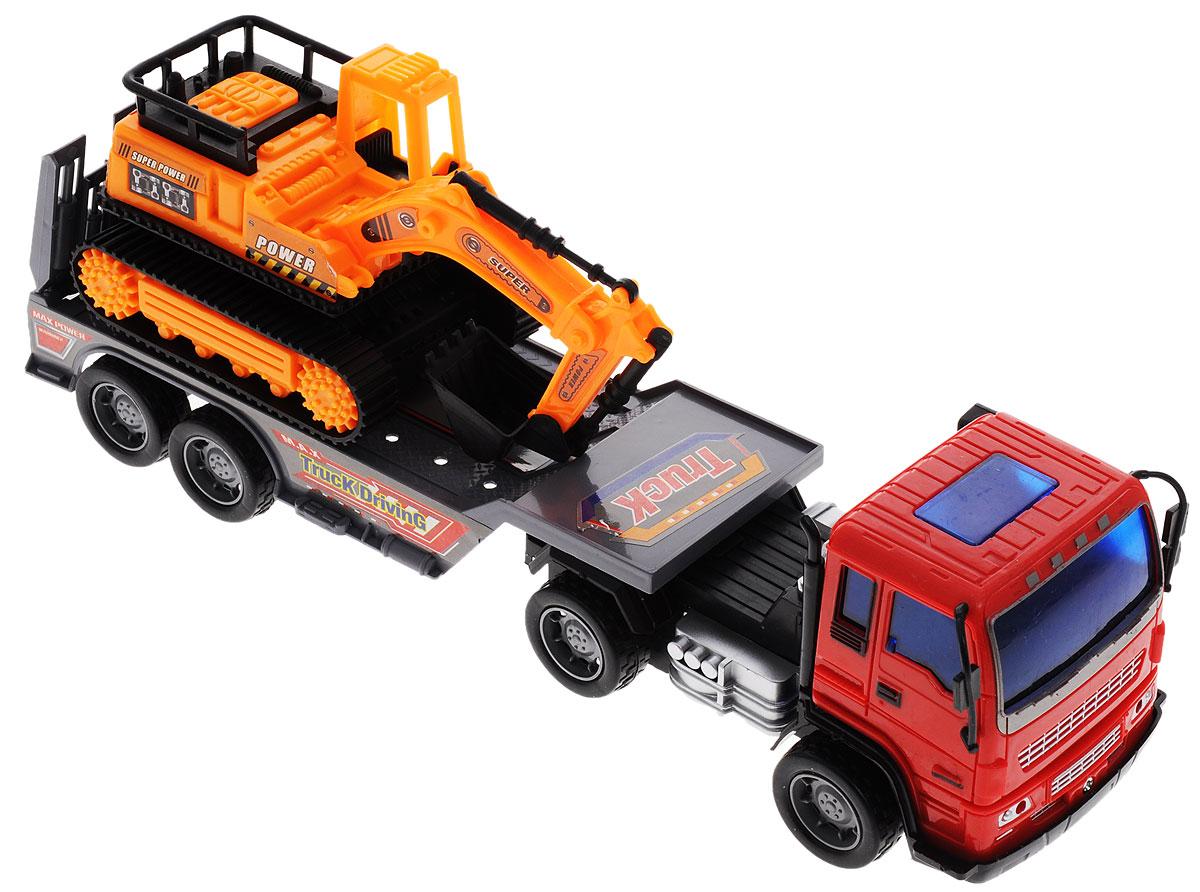 Junfa Toys Автовоз инерционный с экскаватором цвет красный