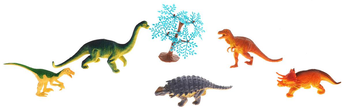 Megasaurs Набор фигурок Динозавры цвет оранжевый зеленый сиреневый 5 шт фигурка megasaurs тираннозавр с двигающейся пастью цвет оранжевый зеленый