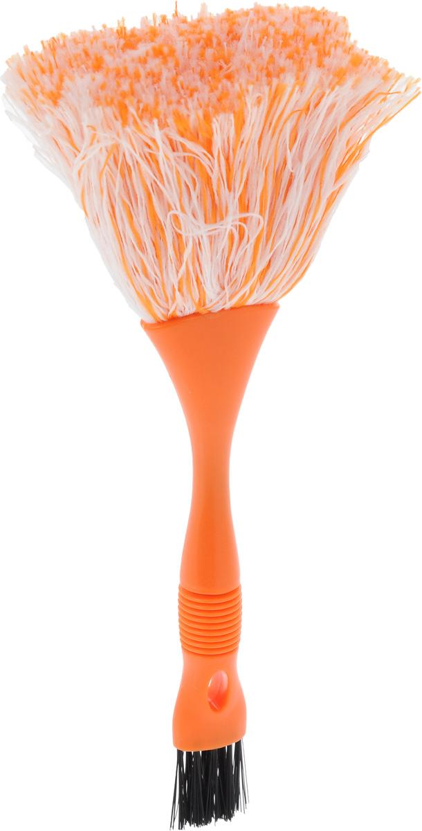 Щетка для уборки пыли Мультидом, двусторонняя, цвет: оранжевый, длина 20 смYM58-140_оранжевыйС помощью двусторонней щетки для уборки пыли Мультидом вы легко и деликатно сможете удалить пыль с любой поверхности и превратить уборку в удовольствие. Мягкий ворс щетки эффективно собирает пыль, не давая ей разлетаться в воздухе, а упругие щетинки кисточки с обратной стороны щетки помогут вам удалить пыль в труднодоступных местах и щелях. Мягкий ворс щетки изготовлен из полиэстеровых нитей, ручка из пластмассы, кисточка из полимерного материала, который не повреждает поверхность.Длина ручки - 13 см.Длина ворса - 7,5 см.