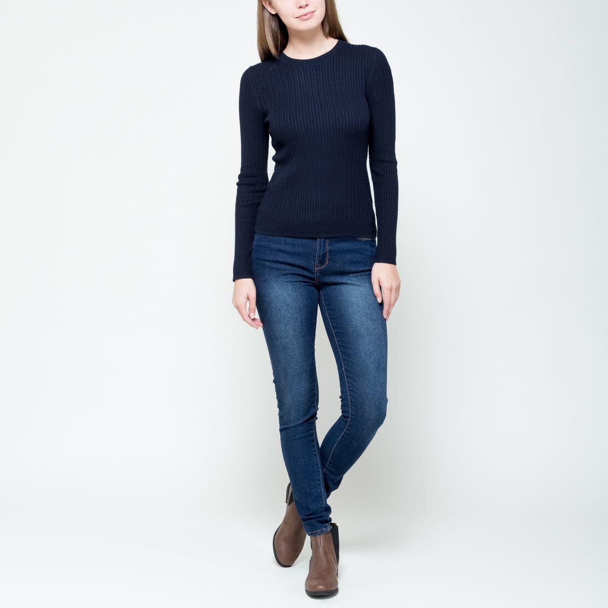 Джемпер женский Sela, цвет: темно-синий. JR-114/1144-6322. Размер S (44) жакет женский sela цвет темно синий jtk 116 448 6171 размер s 44