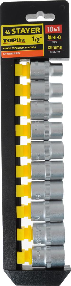 Набор торцевых головок Stayer Standard, 10-19 мм, 10 шт27755-H10Торцевые головки Stayer Standard изготовлены из высококачественной инструментальной стали, закалены, сочетают в себе оптимальный баланс прочности и твердости. Они меют шестигранный зев и посадочное место для присоединительного квадрата 1/2. Головки предназначены для работы с резьбовыми соединениями.Размер головок: 10 мм, 11 мм, 12 мм, 13 мм, 14 мм, 15 мм, 16 мм, 17 мм, 18 мм, 19 мм.
