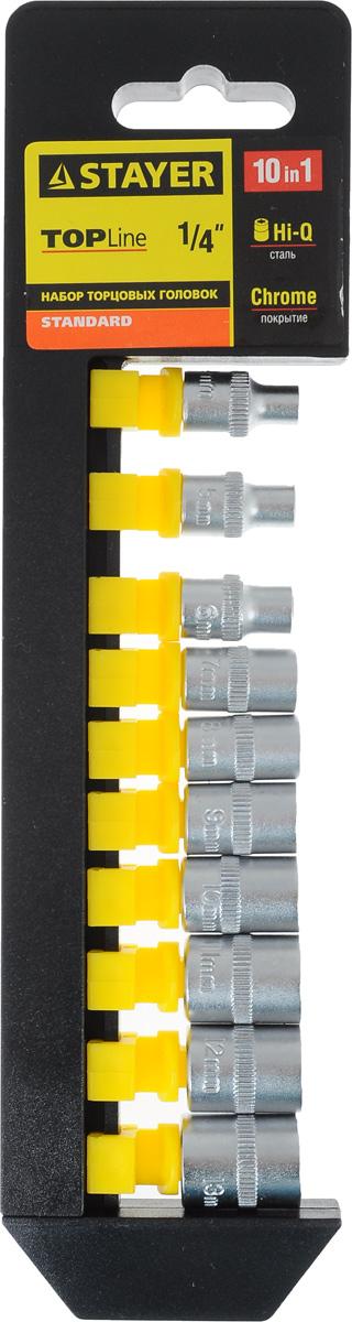 Набор торцевых головок Stayer Standard, 4-13 мм, 10 шт27758-H10Торцевые головки Stayer Standard изготовлены из высококачественной инструментальной стали, закалены, сочетают в себе оптимальный баланс прочности и твердости. Они имеют шестигранный зев и посадочное место для присоединительного квадрата 1/4. Головки предназначены для работы с резьбовыми соединениями.Размер головок: 4 мм, 5 мм, 6 мм, 7 мм, 8 мм, 9 мм, 10 мм, 11 мм, 12 мм, 13 мм.