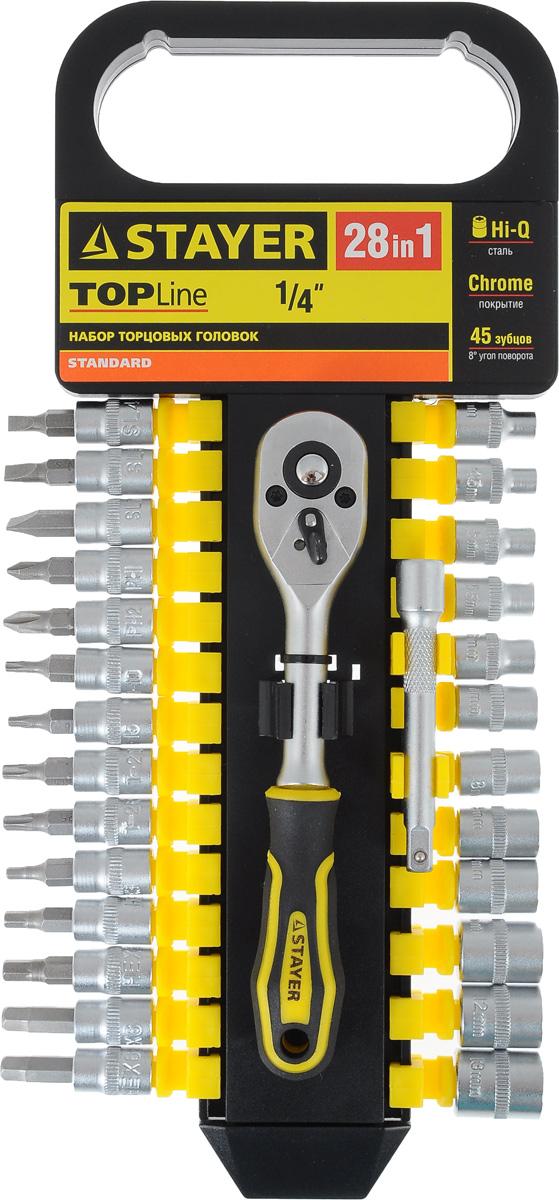 Набор инструментов Stayer Standard, 28 предметов27754-H28Набор слесарно-монтажного инструмента Stayer Standard предназначен для работы с резьбовыми соединениями. Торцевые головки имеют шестигранный зев и посадочное место для присоединительного квадрата 1/4. Трещотка с храповым механизмом устраняет необходимость каждый раз устанавливать ключ на крепежный элемент. Изделия выполнены из высококачественной стали. Трещотка оснащена удобной обрезиненной рукояткой.Состав набора:Торцевые головки: 4 мм, 4,5 мм, 5 мм, 5,5 мм, 6 мм, 7 мм, 8 мм, 9 мм, 10 мм, 11 мм, 12 мм, 13 мм.Биты-головки: SL4, SL5, SL7, PH1, PH2, T10, T15, T20, T25, T30, H3, H4, H5, H6.Трещотка с быстрым сбросом: 45 зубцов, длина 16 см.Удлинитель: 7,5 см.