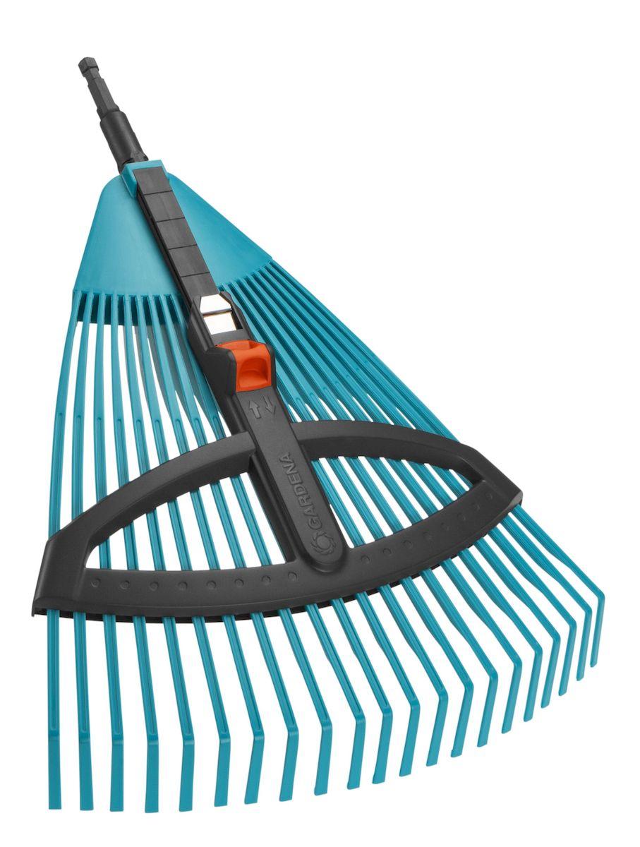 Грабли пластиковые Gardena, регулируемые, без ручки03099-20.000.00Грабли Gardena веерные регулируемые из пластика представляют собой идеальный инструмент для сбора листьев, скошенной травы, разбросанного ветром материала и прочих садовых отходов. Расстояние между гибкими пластиковыми зубьями легко регулируется. Благодаря рабочей ширине собирать можно как крупный, так и мелкий материал. Грабли могут использоваться с любой ручкой, однако рекомендуется использовать ручку длиной 130 см, в зависимости от роста пользователя. Рабочая ширина: 35 - 52 см.