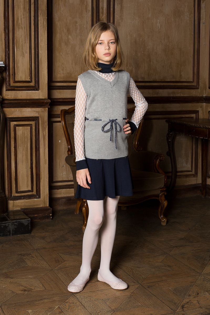 Жилет для девочки Luminoso, цвет: серый меланж. 205628. Размер 164