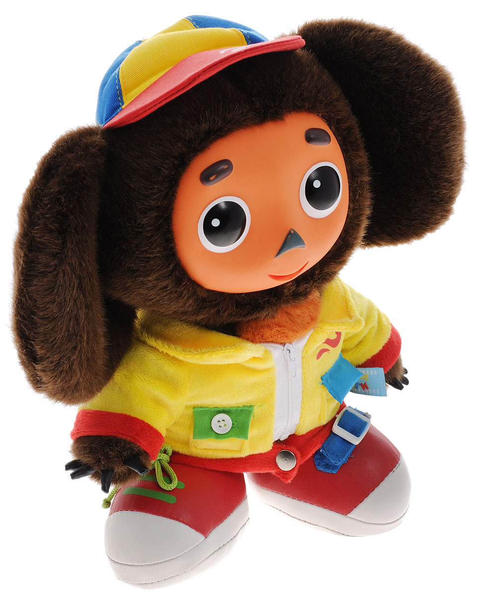 Мульти-Пульти Мягкая озвученная игрушка Чебурашка учит одеваться 30 см учимся одеваться с обезьянкой 1492