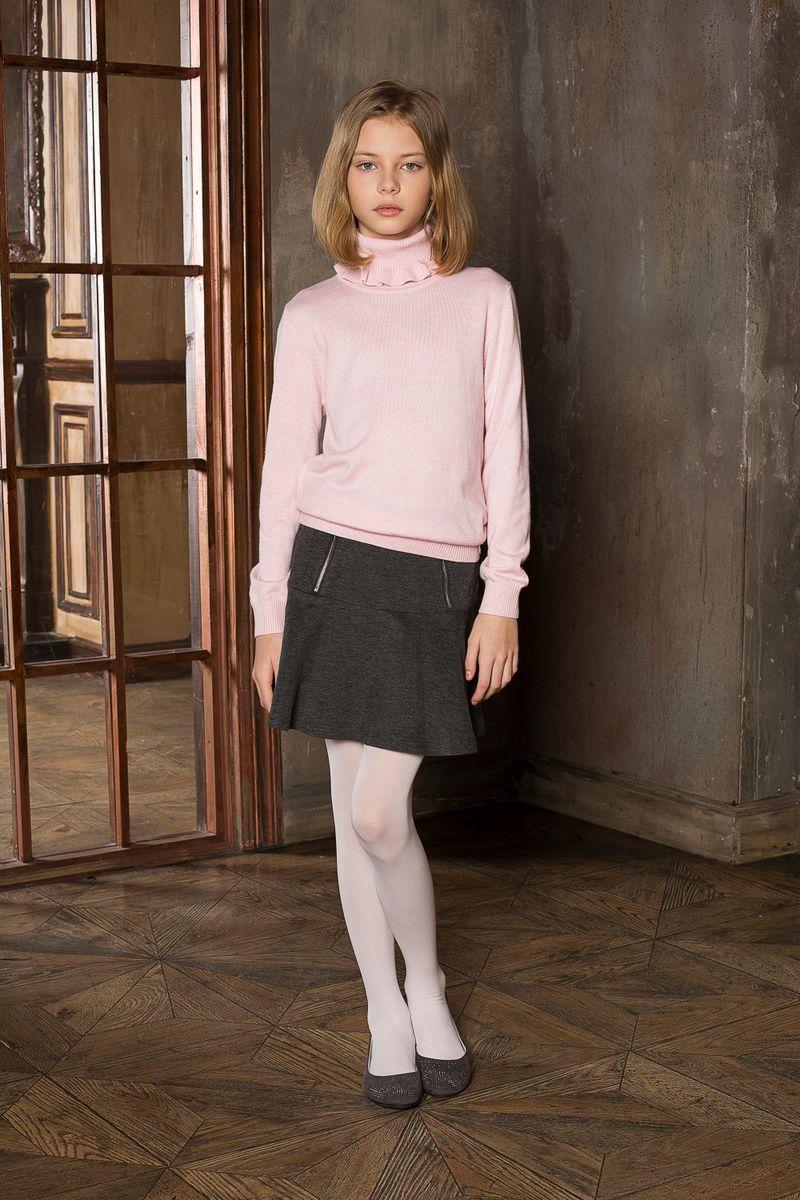 Юбка для девочки Luminoso, цвет: темно-серый меланж. 205642. Размер 158205642Юбка для девочки Luminoso на кокетке из качественного натурального трикотажа, декорированная функциональными молниями.