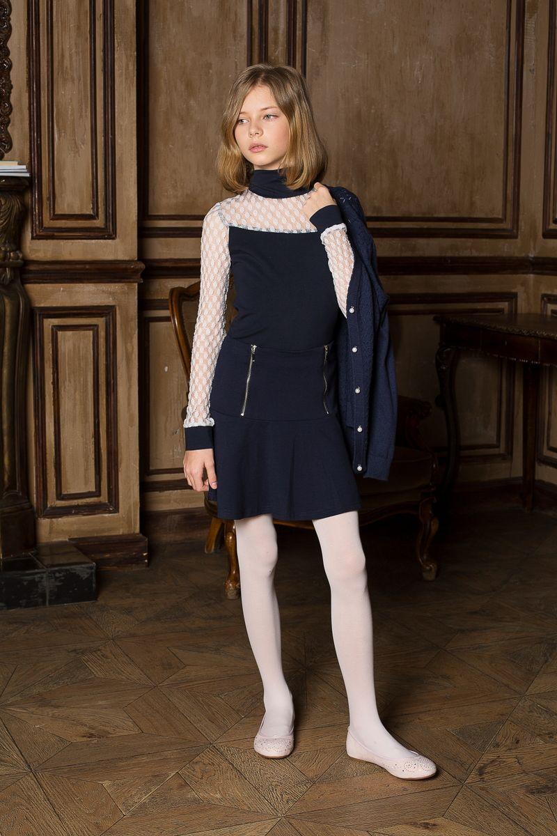 Юбка для девочки Luminoso, цвет: темно-синий. 205643. Размер 134205643Юбка для девочки Luminoso на кокетке из качественного натурального трикотажа, декорированная функциональными молниями.