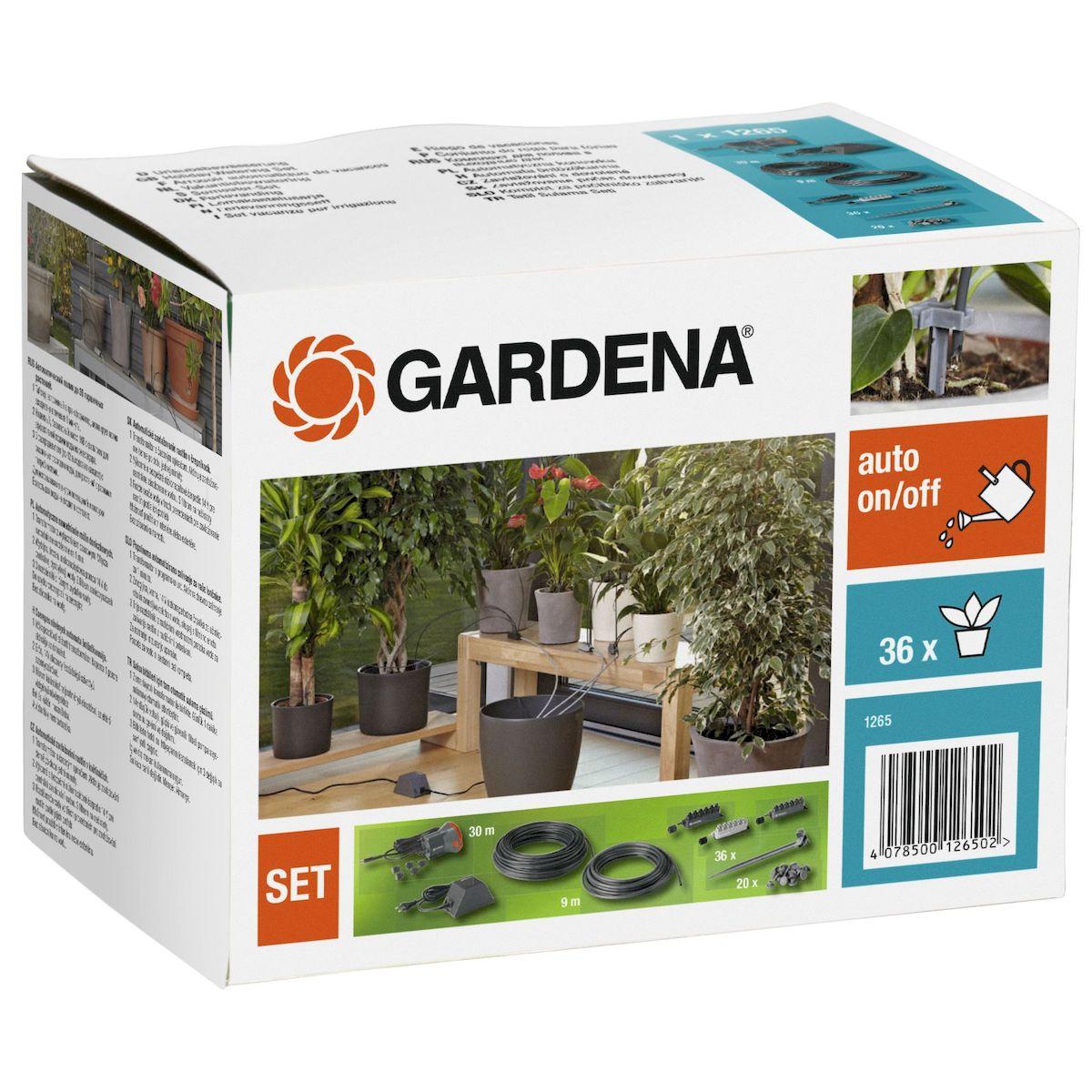 """Комплект для полива цветочных горшков """"Gardena"""" - предназначен для полностью  автоматизированного полива комнатных растений, чтобы вы могли оставить их на время  вашего отсутствия. Он может быть установлен для полива растений на балконах, на крышах- террасах и прочих местах. Комплект не может применяться в местах общественного  пользования, на спортивных объектах, парках, в сельском и лесном хозяйстве. Принцип действия комплекта для полива заключается в следующем: подача насосом воды из  емкости к отдельным растениям по 1 минуте, благодаря таймеру, встроенному в  трансформатор. Одновременно можно поливать до 36 растений. В первую очередь требуется  определить количество воды, необходимое растениям ежедневно. Чтобы почувствовать  правильную дозировку воды, можно испытать систему в течение нескольких дней до начала  отпуска. При перебоях в подаче электроэнергии, насос каждый раз запускается автоматически, и  продолжает работать по первоначально заданной программе после ее возобновления. Когда вы расставляете цветочные горшки, рекомендуется выбирать места, которые  расположены в зоне действия солнечных лучей, но не слишком близко от окна, лучше всего на  расстоянии приблизительно 1 м. Помните, что потребление воды каждым отдельным  растением может меняться, если переместить его на другое место. В теплых и светлых местах  они нуждаются в большем количестве воды, чем в темных и прохладных.  Особенности:  Дает возможность поливать до 36 горшечных растений. Полив производится каждый день в течение одной минуты благодаря таймеру, встроенному в  трансформатор. Расход воды зависит от распределителя, через который ведется полив: - Светло-серый распределитель – 15 мл/мин. - Серый распределитель – 30 мл/мин. - Темно-серый распределитель – 60 мл/мин.  Дополнительные характеристики: Входное напряжение: 230В. Частота тока: 50 Гц. Выходное напряжение (постоянный ток): 14 В. Максимальная температура окружающей среды: + 40°C.  Комплектация: - трансформатор с таймером, - насос с фильтр"""
