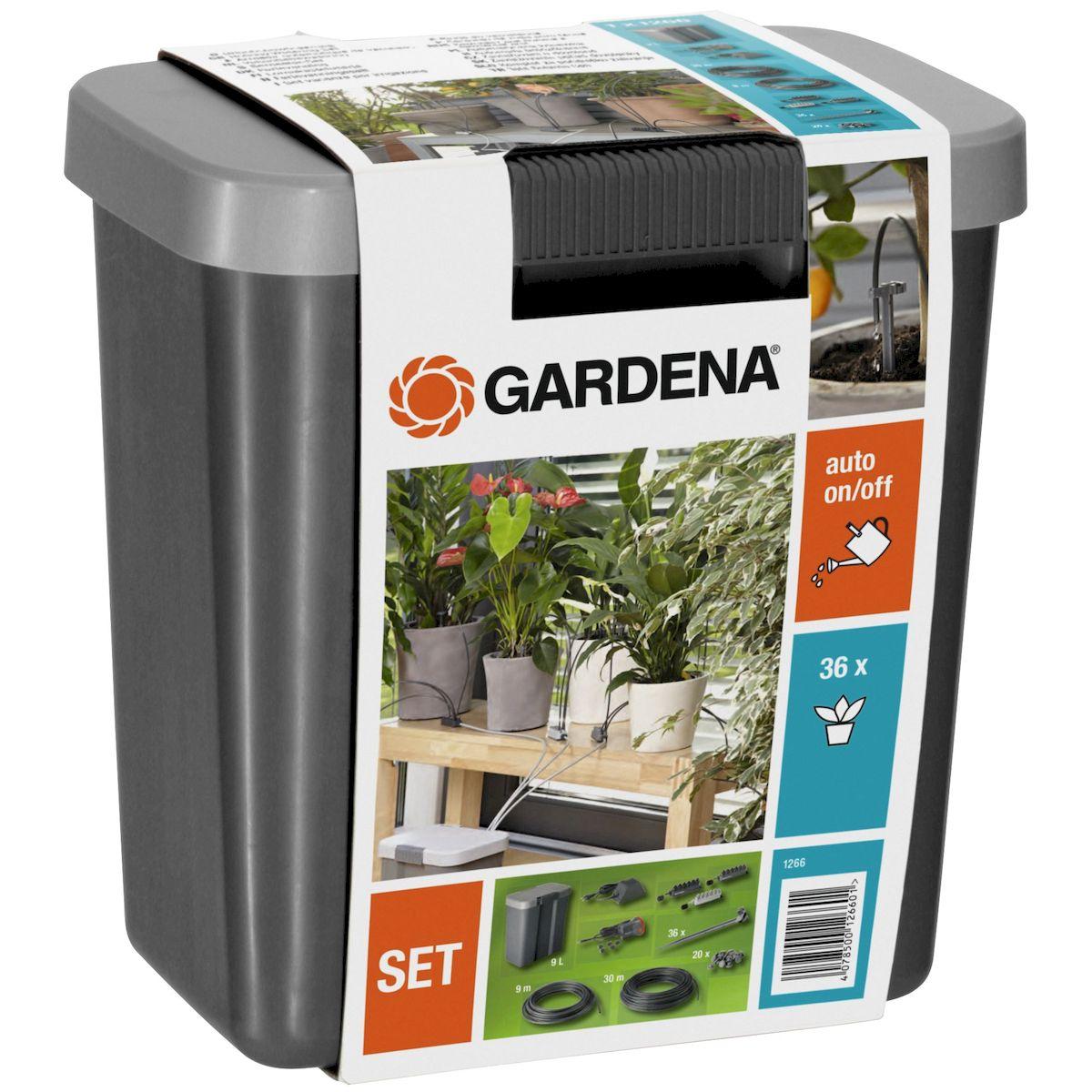 Комплект для полива в выходные дни Gardena, с емкостью на 9 л01266-20.000.00Комплект для полива в выходные дни Gardena с емкостью на 9 литров- предназначен для полностью автоматизированного полива комнатных растений во время вашего отсутствия (например, в отпуске). Он может также использоваться для полива растенийв цветочных ящиках на балконах и на крышах-террасах. Комплект не может применяться в местах общественного пользования,на спортивных объектах, парках, в сельском и лесном хозяйстве.Принцип действия комплекта для полива заключается в следующем: подача насосом воды из емкости к отдельным растениям по 1 минуте, благодаря таймеру, встроенному в трансформатор с девятилитровой емкостью.Одновременно можно поливать до 36 растений. В первую очередь требуется определить количество воды, необходимое растениям ежедневно. Чтобы почувствовать правильную дозировку воды, можно испытать систему до начала отпуска в течение нескольких дней.При перебоях в подаче электроэнергии, насос каждый раз запускается автоматически, и продолжает работать по первоначально заданной программе после ее возобновления.Когда вы расставляете цветочные горшки, рекомендуется выбирать места, которые расположены в зоне действия солнечных лучей, но не слишком близко от окна, лучше всего на расстоянии приблизительно 1 м. Помните, что потребление воды каждым отдельным растением может меняться, если переместить его на другое место. В теплых и светлых местах они нуждаются в большем количестве воды, чем в темных и прохладных.Можно распределить цветочные горшки по группам и присоединить к каждой группе соответствующий капельный распределитель. Светло-серый капельный распределитель 1 расходует приблизительно 15 мл на один канал в день, что соответствует содержанию как минимум стакана воды, предназначен для растений с незначительным потреблением воды. Серый капельный распределитель 2, используется для растений со средним потреблением воды. Расходует приблизительно 30 мл на один канал в день, что соответствует 