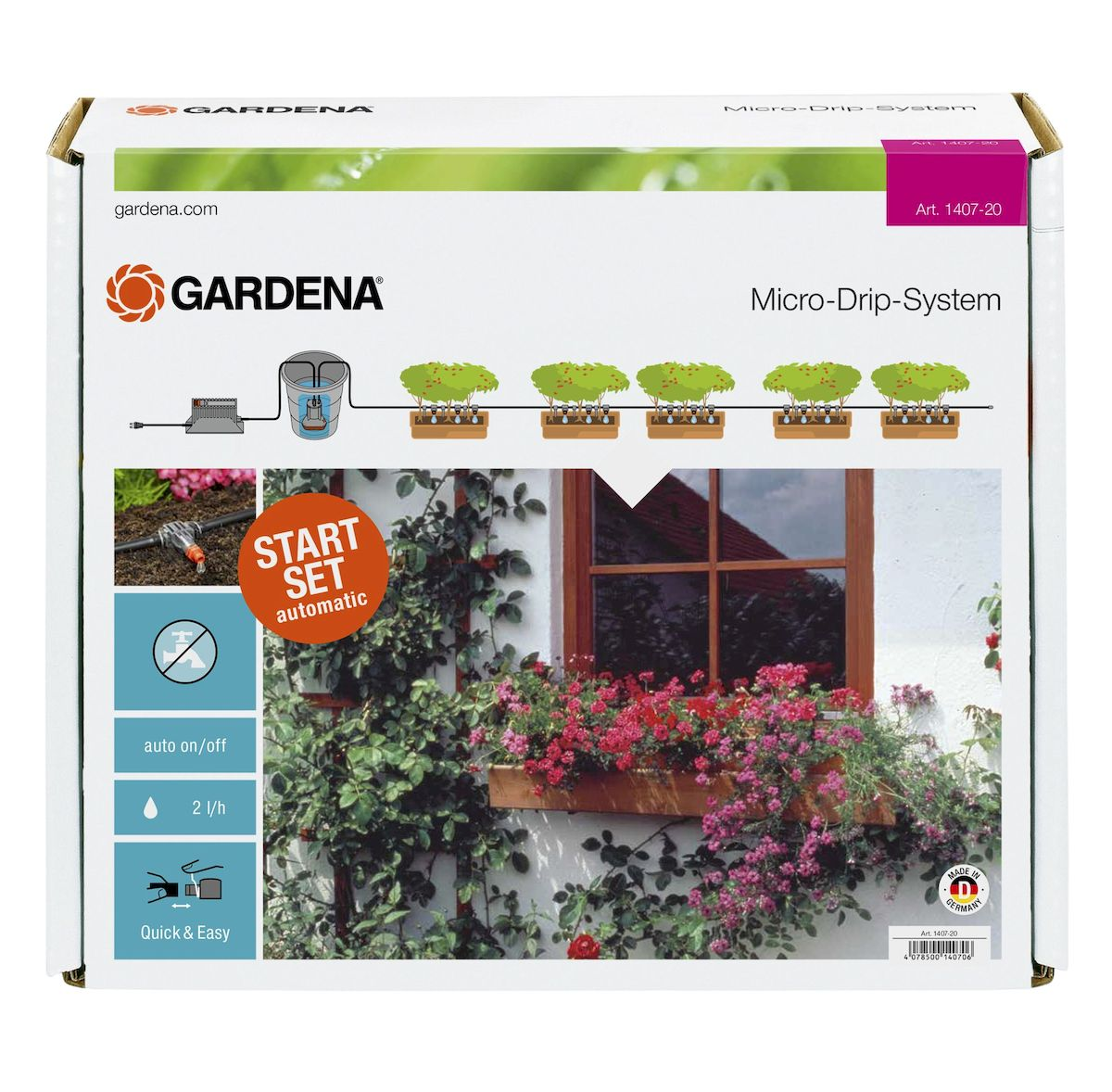 Комплект микрокапельного полива горшечных растений Gardena01407-20.000.00Система микрокапельного полива Gardena предназначена для автоматического полива горшечных растений протяженностью до 6 м. Наличие встроенного таймера с 13 заданными программами позволяет легко поливать горшечные растения в ваше отсутствие. Для того чтобы исключить зависимость от водопровода, полив растений может осуществляться напрямую, например, из бака с дождевой водой. Для полива горшечных растений на протяжении более 6 м в систему можно включить дополнительные элементы. Для рационального полива к системе полива горшечных растений можно подключить датчик дождя Gardena и датчик влажности почвы Gardena. В комплекте: - трансформатор с вращающимся регулятором для выбора программы полива; - насос низкого давления 14 В;- фильтр; - внутренняя капельница (2 л/ч), 25 шт; - концеваязаглушка; - игла для прочистки; - подающий шланг 4,6 мм (3/16 дюйма), 10 м; - колышки для крепления шланга, 15 шт.