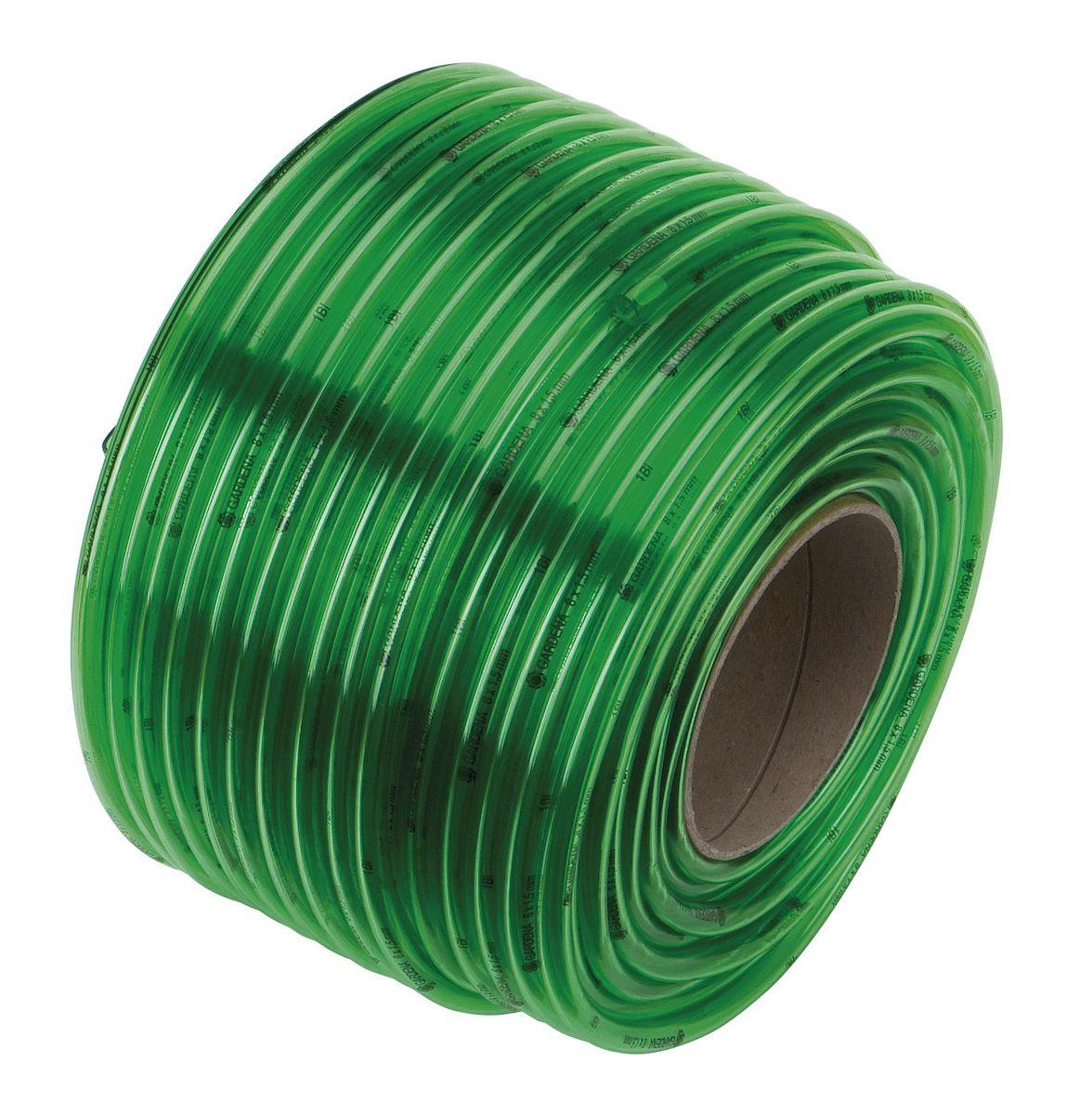 Шланг Gardena, прозрачный, диаметр 10, длина 50 м04988-20.000.00Шланг Gardena изготовлен из прозрачного ПВХ. Шланг предназначен для транспортировки жидкостей без напора в диапазоне температур от -10°С до +50°С. Без текстильного армирования, без содержания регенератов, кадмия, свинца и бария