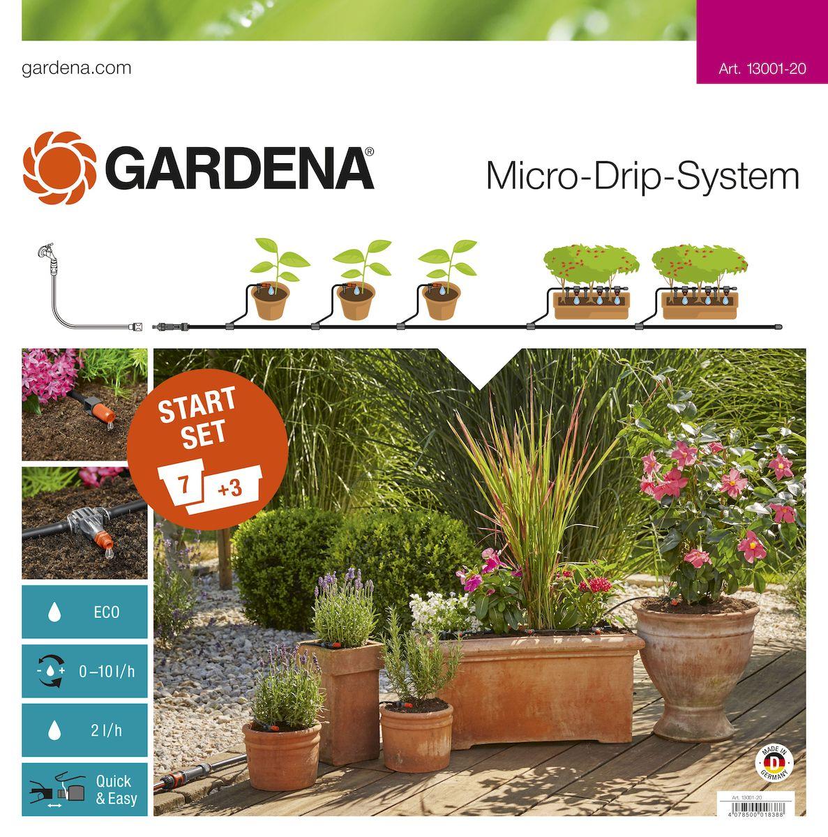 Комплект микрокапельного полива Gardena, базовый13001-20.000.00Базовый комплект Gardena предназначен для микрокапельного полива, который может применяться в различных целях. Комплект может использоваться для полива семи горшечных растений и трех цветочных ящиков, но в любом случае это оптимальный набор инструментов для создания базовой системы микрокапельного полива Gardena. Такие элементы позволяют создать систему для удобного полива необходимых растений. Предусмотрена возможность включения в систему дополнительных элементов. В комплекте: - мастер-блок 1000; - шланг магистральный 15 м; - шланг подающий 10 м; - соединитель Т-образный 13 мм (1/2);- соединитель Т-образный 10 шт; - колышки для крепления шлангов 4,6 мм (3/16), 15 шт;- колышки для крепления шлангов 13 мм (1/2), 10 шт;- регулируемая концевая капельница (10 л/час), 7 шт; - внутренняя капельница (2 л/ч), 9 шт;- заглушка 4,6 мм (3/16), 3 шт; - заглушка 13 мм (1/2), 2 шт; - игла для прочистки. Благодаря патентованной технологии быстрого подсоединения Quick & Easy, все элементы легко соединяются и разъединяются.