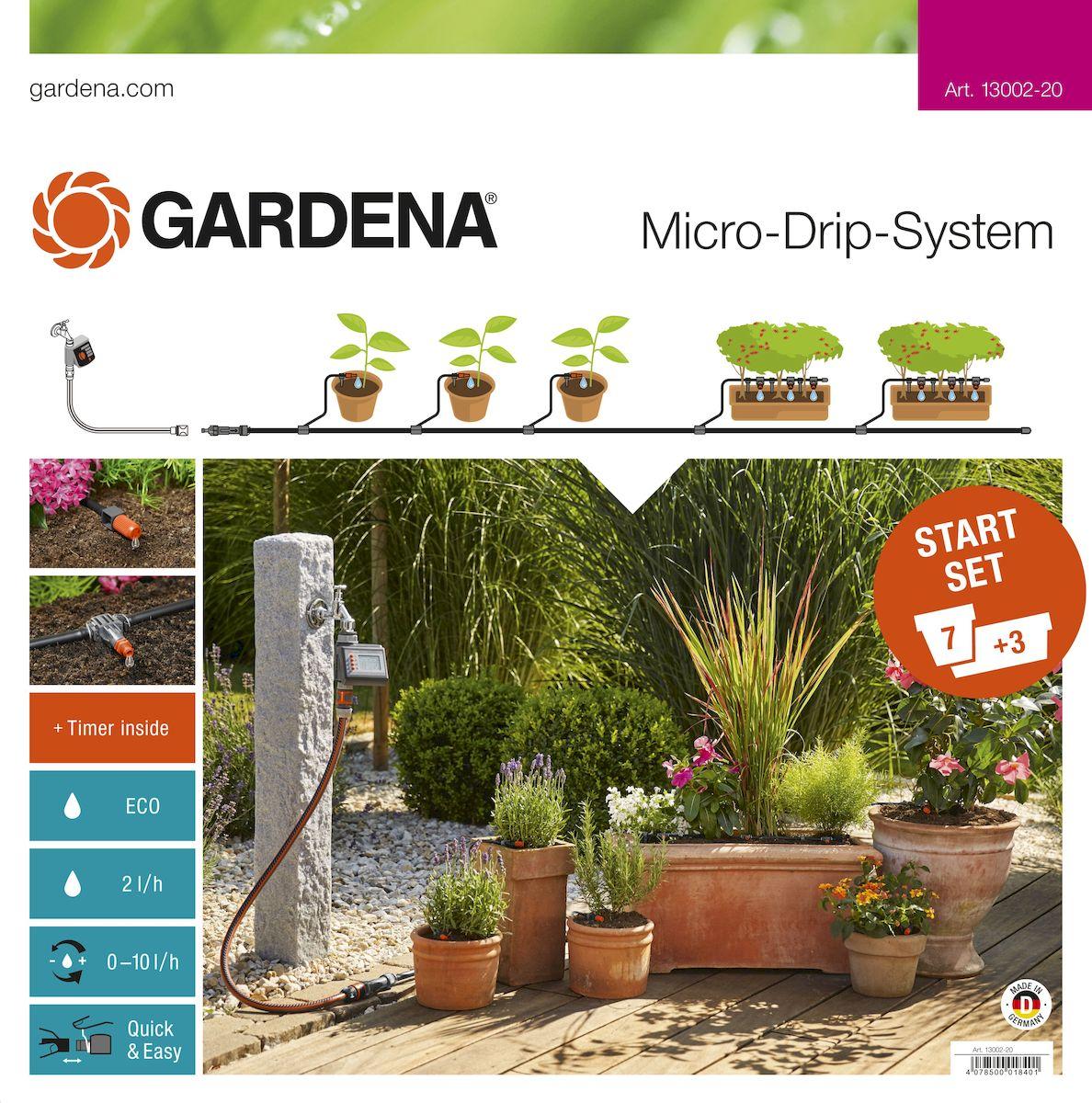 Комплект микрокапельного полива Gardena, базовый с таймером13002-20.000.00Комплект микрокапельного полива Gardena предназначен для микрокапельного полива, который может применяться в различных целях. Комплект может использоваться для 7 горшечных растений и 3 цветочных ящиков. Таймер автоматического полива EasyConrol обеспечивает полностью автоматический полив. Предусмотрена возможность включения в систему дополнительных элементов. В готовый к использованию базовый комплект входят все основные компоненты системы микрокапельного полива Micro-Drip-System, необходимые для простого полива различных растений. Комплект можно дополнять другими компонентами системы Micro-Drip-System. В комплекте: - таймер автоматического полива EasyControl; - мастер-блок 1000; - шланг магистральный 15 м; - шланг подающий 10 м; - соединитель Т-образный 13 мм (1/2);- соединитель Т-образный 10 шт; - колышки для крепления шлангов 4,6 мм (3/16), 15 шт; - колышки для крепления шлангов 13 мм (1/2), 10 шт; - регулируемая концевая капельница (10 л/ч) 7 шт; - внутренних капельниц (2 л/ч) 9 шт; - заглушка 4,6 мм (3/16), 3 шт; - заглушки 13 мм (1/2), 2шт; - игла для прочистки. Благодаря патентованной технологии быстрого соединения Quick & Easy, все элементы легко соединяются и разъединяются.
