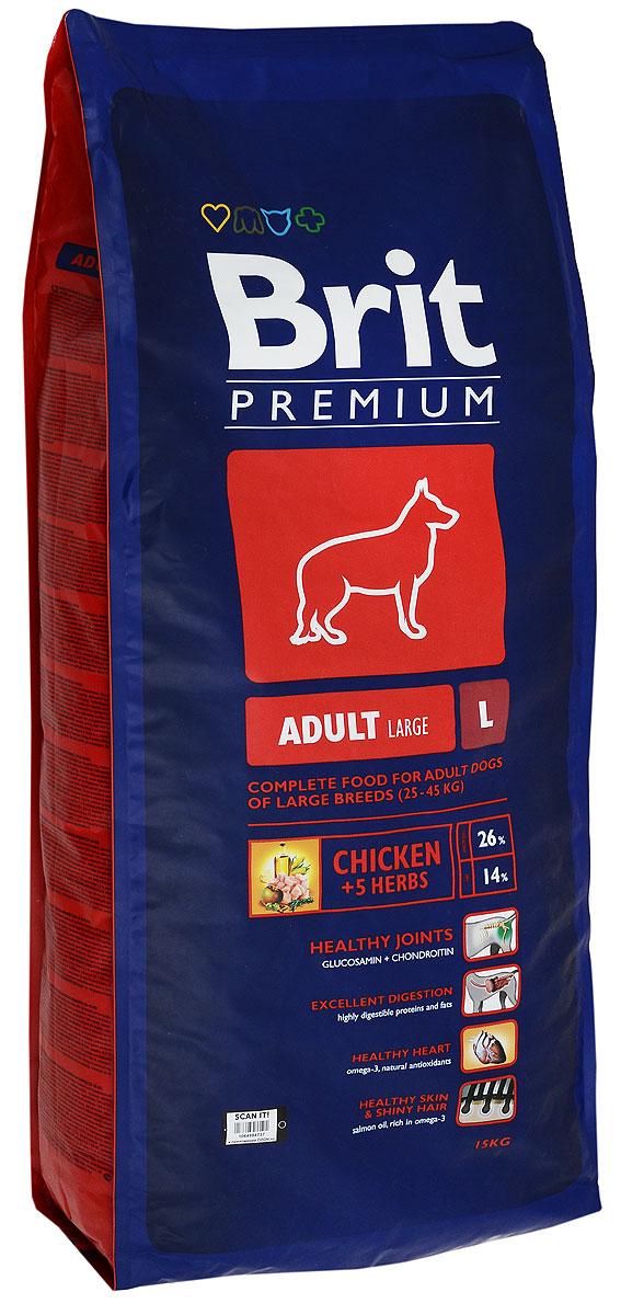 Корм сухой Brit Premium Adult L для взрослых собак крупных пород, с курицей, 15 кг132321Сухой корм Brit Premium Adult L - это полнорационный сухой корм с курицей для взрослых собак (1-7 лет) крупных пород весом от 25 до 45 кг. Для собак крупных пород очень важно правильное поэтапное питание в период роста. Период роста у собак крупных пород длится до двух лет, это более длительный процесс, чем у мелких и средних пород. Для взрослых собак крупных пород необходимо высокое содержание в корме антиоксидантов хондропротектов для здоровья суставов. Собаки крупных пород очень часто имеют чувствительный желудочно-кишечный тракт, поэтому для них очень важно содержание пребиотиков в корме, так как они улучшают здоровье кишечной флоры и поддерживают нормальное функционирование желудочно-кишечного тракта. Состав: мука из мяса курицы (40%), рис, кукуруза, пшеница, куриный жир (консервированный токоферолами), масло лосося, пивные дрожжи, натуральные ароматизаторы, сушеные яблоки, минеральные вещества, экстракт из трав и фруктов (300 мг/кг), глюкозамин гидрохлорид (260 мг/кг), хондроитина сульфат (160 мг/кг), мананоолигосахариды (150 мг/кг), фруктоолигосахариды (100 мг/кг), экстракт юкки шидигеры (80 мг/кг), органическая Е4 медь, органический Е6 цинк, органический селен. Анализ состава: сырой протеин 26%, сырой жир 14%, влажность 10%, сырая зола 6,5%, клетчатка 2,2%, кальций 1,5%, фосфор 1,1%.Витамины и добавки (на 1 кг): витамин A 15000 МЕ, витамин D3 1500 МЕ, витамин E (Q-токоферол) 500 мг, железо 80 мг, цинк 70 мг, марганец 36 мг, медь 20 мг, йод 0,65 мг, селен 0,2 мг. Энергетическая ценность: 4144 ккал/кг. Товар сертифицирован.