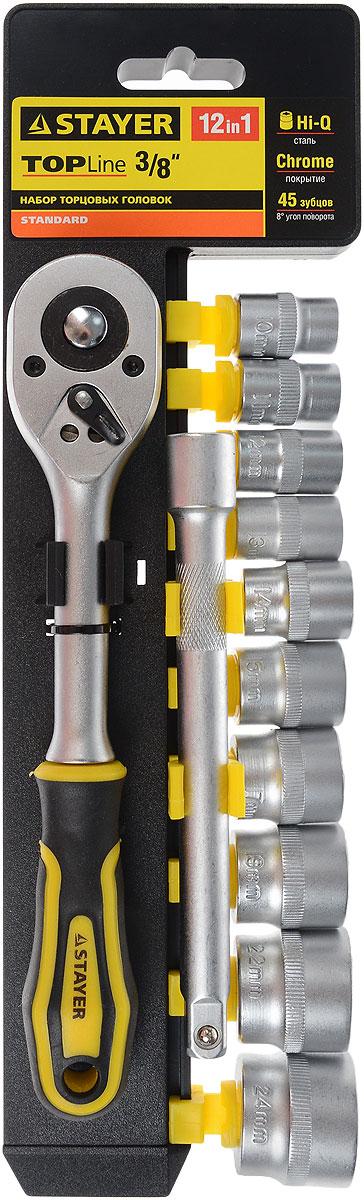 Набор инструментов Stayer Standard, 12 предметов. 27752-H1227752-H12Набор слесарно-монтажного инструмента Stayer Standard предназначен для работы с резьбовыми соединениями. Торцевые головки имеют шестигранный зев и посадочное место для присоединительного квадрата 3/8. Трещотка с храповым механизмом устраняет необходимость каждый раз устанавливать ключ на крепежный элемент. Изделия выполнены из высококачественной стали. Трещотка оснащена удобной обрезиненной рукояткой.Состав набора:Торцевые головки: 10 мм, 11 мм, 12 мм, 13 мм, 14 мм, 15 мм, 17 мм, 19 мм, 22 мм, 24 мм.Трещотка с быстрым сбросом: 45 зубцов, длина 20 см.Удлинитель: 15 см.