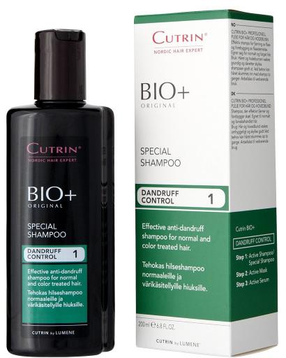 Cutrin Специальный шампунь против перхоти Special Shampoo, 200 мл14223Усовершенствованная формула способствует тому, что шампунь еще более эффективно удаляет перхоть и предотвращает ее появление. Подходит для нормальных и окрашенных волос. Активный ингредиент - Пироктон Оламин. Деготь заменен новым североевропейским ингредиентом - экстрактом побегов можжевельника, который успокаивает кожу головы. Более мягкий и ухаживающий по сравнению с Активным Шампунем.
