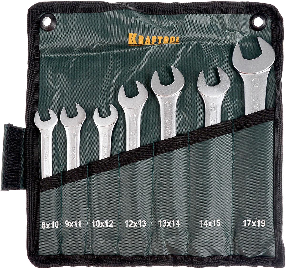 Набор рожковых гаечных ключей Kraftool Expert, 8-19 мм, 7 шт