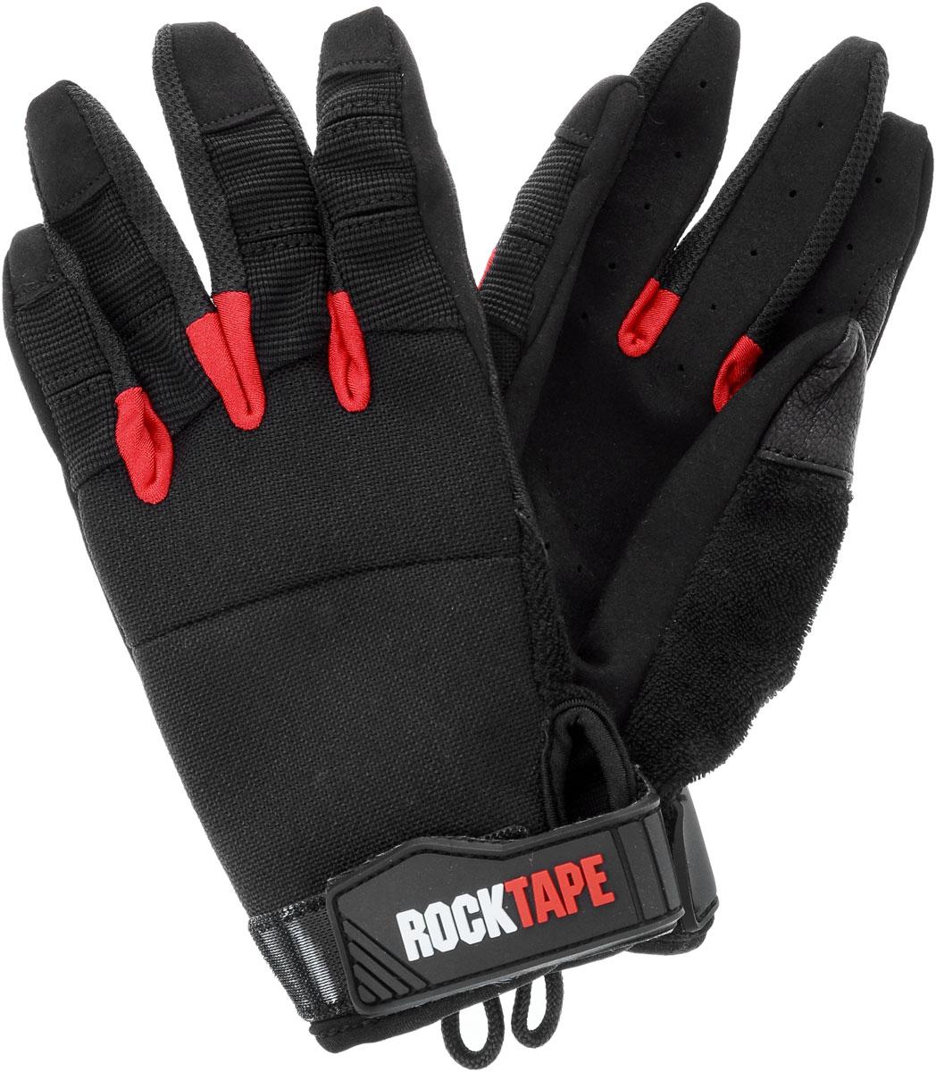 Перчатки Rocktape Talons, цвет: черный, красный. Размер LRTTls-LRocktape Talons - это функциональные перчатки для спорта. Руль велосипеда, турник, штанга - за что бы вы ни взялись, перчатки обеспечат максимальную защиту и поддержку! Уверенный хват и больше никаких стертых рук, волдырей и мозолей!Особенности перчаток:Дружелюбны к сенсорным экранам.Без швов на ладонях.Силиконовая накладка false-grip поможет в выходах силой.Защита большого пальца при захвате штанги.Впитывают пот.Дышащий материал по боковым поверхностям пальцев.Удобные петли.Рассчитаны на работу с мелом.Обхват ладони ниже костяшки: 23 см.