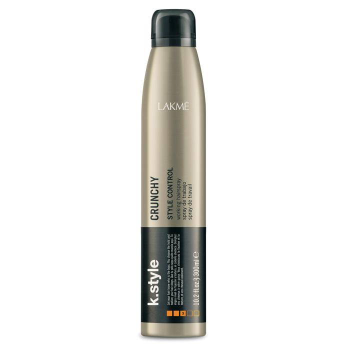 Lakme Спрей для укладки волос Crunchy Working Hairspray, 300 мл46343Спрей для укладки волос Lakme K Style Crunchy - быстросохнущий лак для мгновенной и стойкой фиксации. Позволяет создавать укладки в движении.Контроль укладки.Низкое содержание VOC (летучих органических соединений).Содержит УФ фильтры.Легко расчесывается.Древесно - травяной аромат. Степень фиксации - 3