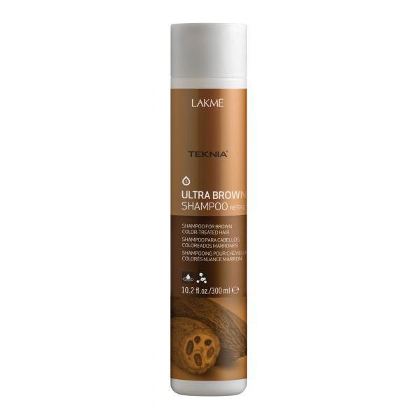 Lakme Шампунь для поддержания оттенка окрашенных волос Коричневый Shampoo, 300 мл47022Специально разработанная формула с экстрактом какао и вытяжкой семян индийской акации, которые обладают влагоудерживающими свойствами, мягко очищает волосы. Образует защитную пленку, которая предотвращает потерю цвета. Возвращает волосам мягкость, блеск и богатство оттенков.Шампунь для поддержания оттенка окрашенных волос «Коричневый» Lakme Teknia Ultra Brown Shampoo содержит WAA™ – комплекс растительных аминокислот, ухаживающий за волосами и оказывающий глубокое воздействие изнутри.