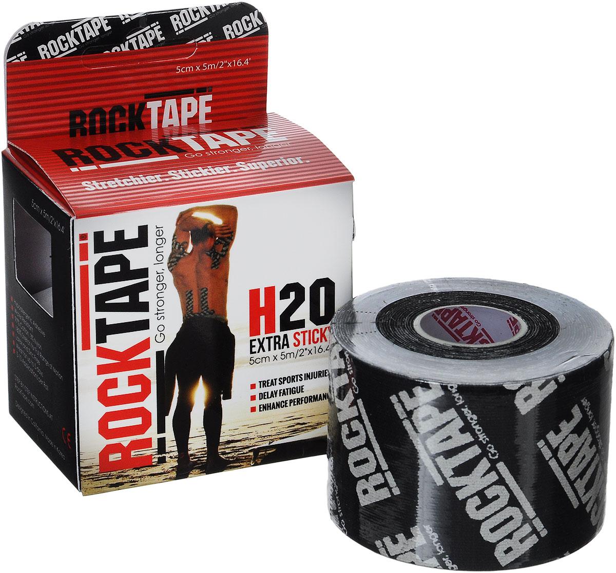"""Кинезиотейп Rocktape """"H2O"""", цвет: черный, белый, 5 х 500 см"""