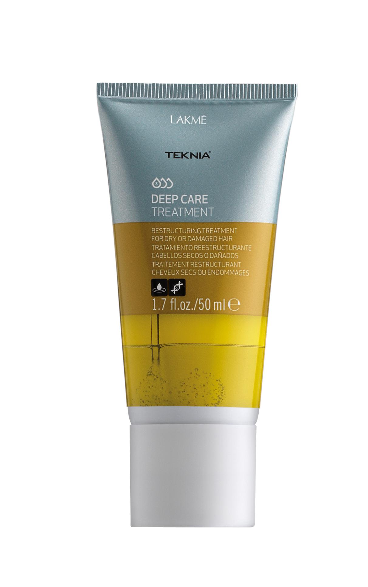 Lakme Интенсивное восстанавливающее средство для сухих или поврежденных волос Treatment, 50 мл47733Абиссинское масло глубоко питает, укрепляет и далет волосы шелковистыми и невероятно легкими. Придает бриллиантовый блеск. Керамиды укрепляют и восстанавливают поврежденные участки волос, сохраняя их натуральные свойства. Облегчает укладку волос.Интенсивное восстанавливающее средство для сухих или поврежденных волос Lakme Teknia Deep Care Treatment содержит WAA™ – комплекс растительных аминокислот, ухаживающий за волосами и оказывающий глубокое воздействие изнутри.