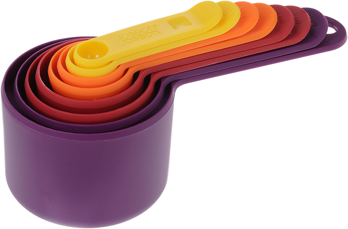 Набор мерных емкостей Joseph Joseph Nest, 8 шт40019Набор Joseph Joseph Nest, выполненный из высококачественного пищевого пластика, состоит из 8 мерных емкостей различного объема. Емкости складываются друг в друга, что позволяет существенно экономить пространство на кухне. Ручки емкостей оснащены отметками литража (в миллилитрах и tsp/cup). Набор позволяет измерять объем от 1,25 мл до 250 мл и от 1/4 чайной ложки до 1 чашки.Набор мерных емкостей Joseph Joseph Nest станет незаменимым помощником в приготовлении пищи, а современный стильный дизайн позволит такому набору занять достойное место на вашей кухне, добавив интерьеру оригинальности.Коллекция Nest - это практичность, экономия пространства, яркие краски и стиль! В любом доме будут рады такому подарку, и никто не останется равнодушным к этому набору.Можно мыть в посудомоечной машине.Объем мерных емкостей: 1,25 мл; 2,5 мл; 5 мл; 15 мл; 60 мл; 85 мл; 125 мл; 250 мл. Длина емкостей (с ручками): 7,5-18 см.