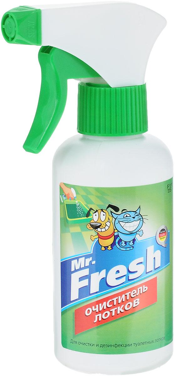 Очиститель туалетных лотков Mr.Fresh, 200 мл52414Спрей-очиститель лотков Mr.Fresh предназначен для удаления мочевого камня и налета, дезинфекции, устранения неприятного запаха. Безвреден для здоровья животных и детей. Не содержит хлора, фтора и других химически агрессивных компонентов.Состав: Acid Super Organic, вода дистиллированная до 100%. Товар сертифицирован.