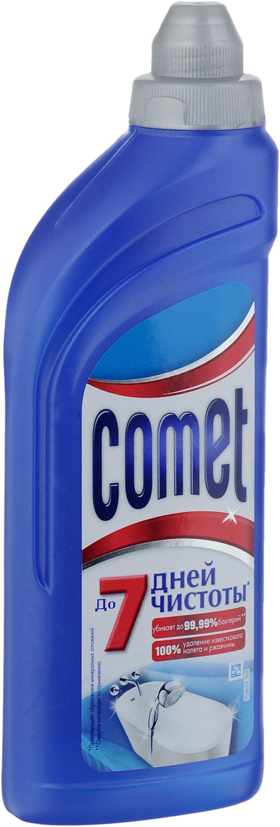Гель чистящий Comet, для ванной комнаты, 500 млCG-81515771Чистящий гель Comet для ванной комнаты сохраняет и продлевает чистоту обрабатываемой поверхности до 7 дней благодаря защитному слою. Средство отлично чистит и удаляет известковый налет и ржавчину, а также дезинфицирует поверхность. Придает свежий аромат. Товар сертифицирован.Как выбрать качественную бытовую химию, безопасную для природы и людей. Статья OZON Гид
