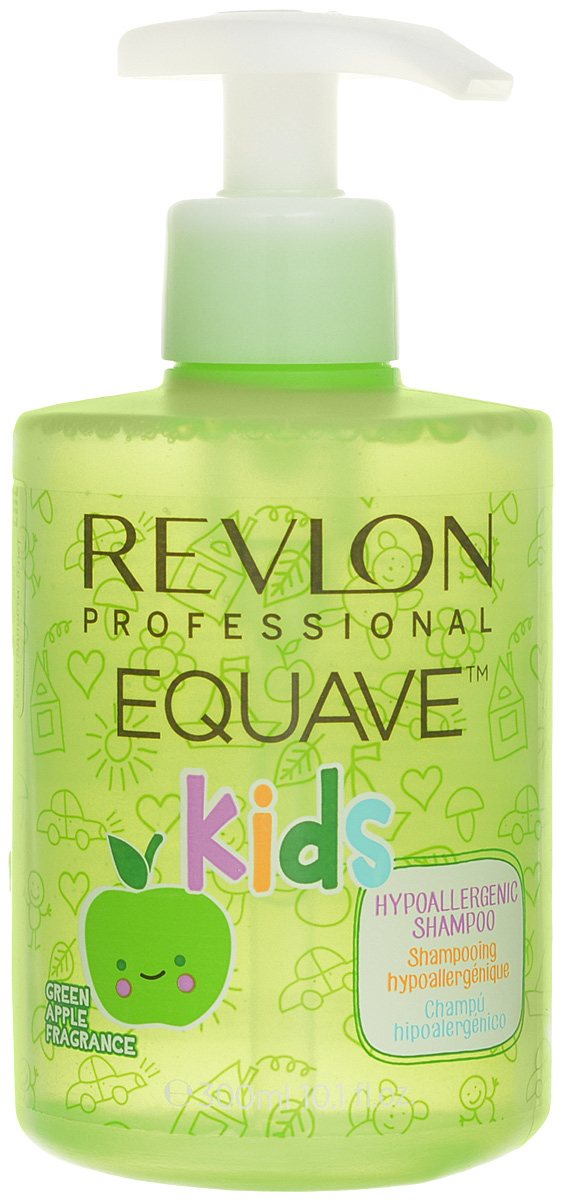 Revlon Professional Шампунь для детей 2 в 1 Equave Kids 300 мл7206075000Гипоаллергенное средство для ухода за волосами детей. Детские волосы имеют ряд особенностей, которые необходимо учитывать при мытье. Возможность возникновения аллергических реакций сведена к минимуму, поскольку в шампуне EQUAVE KIDS 2в1 не содержатся парабены, сульфаты и красители. Гелевая формула позволяет шампуню быть достаточно пенистым без повышения щелочной реакции продукта, мягко очищает и питает. Проблема повышенной спутываемости не возникает из-за наличия в составе шампуня ряда увлажняющих компонентов, одним из которых является витамин В5. Свежий, но ненавязчивый аромат яблока понравится ребенку, превратит купание в праздник. К тому же шампунь не раздражает слизистую детских глаз. Снабжен удобным дозатором. Не желательно использовать для ребенка, который младше трех лет.