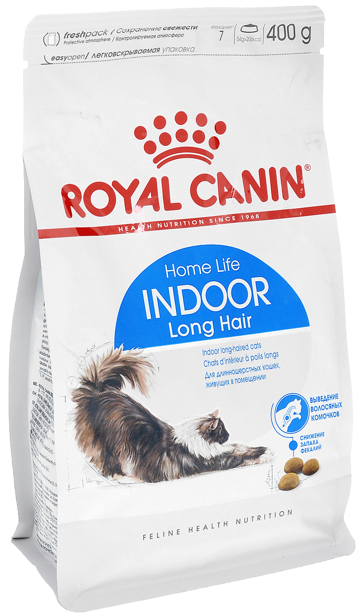 Корм сухой Royal Canin Indoor Long Hair, для длинношерстных кошек в возрасте от 1 до 7 лет, живущих в помещении, 400 г21519Royal Canin Indoor Long Hair- полнорационный сухой корм для длинношерстных кошек в возрасте от 1 до 7 лет,живущих в помещении. Образ жизни кошки, постоянно живущей в помещении, и ее длинная шерсть - факторы, обуславливающиенеобходимость специального питания. Домашний образ жизни увеличивает риск появления избыточного веса укошек и замедляет транзит пищи в кишечнике вследствие нарушений моторики пищеварительного тракта. У длинношерстных кошек, постоянно находящихся в помещении, в желудке скапливается большое количествоволосяных комочков. Эксклюзивный комплекс, сочетающий в себе растительный «клей» и неферментируемуюклетчатку (семена подорожника и свекольный жом), способствует ускорению транзита пищи по кишечнику иестественному выведению волосяных комочков из организма кошки.Уникальный комплекс питательных веществ в корме способствует обновлению и сохранению красоты длиннойшерсти кошек. Обеспечивает блеск и красоту шерсти кошки за счет повышенного содержания белков (35%) ивходящего в состав корма комплекса питательных веществ, содержащего витамины А и В, незаменимые жирныекислоты, микроэлементы в хелатной форме, масло огуречника (источник гамма-линоленовой кислоты), рыбий жир,богатый жирными кислотами Омега-3.Корм способствует ослаблению запаха фекалий кошки благодаря высокоусвояемым белкам L.I.P. (90%усвояемости), снижающим количество непереваренных остатков пищи в кишечнике, а также сочетаниюнеферментируемой клетчатки и свекольного жома. Состав: дегидратированные белки животного происхождения (птица), растительная клетчатка, кукуруза, рис,изолят растительных белков L.I.P., пшеница, животные жиры, гидролизатбелков животного происхождения,свекольный жом, растительная клетчаткаминеральные вещества, рыбий жир, соевое масло, оболочка и семена подорожника, фруктоолигосахариды,дрожжи, масло огуречника аптечного.Добавки (в 1 кг): витамин A - 23500 ME, в